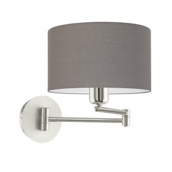 Pasteri Swing Arm Wall Light with an Anthracite Brown Shade