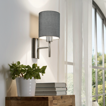 Pasteri Wall Light in Matt Nickel with a Grey Shade