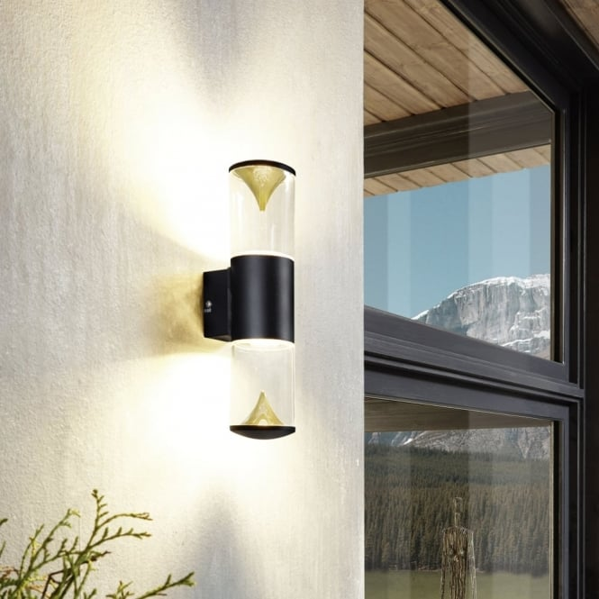 Eglo Penalva 1 Exterior LED Wall Light in Black and Gold