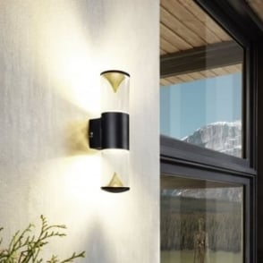 Penalva 1 Exterior LED Wall Light in Black and Gold
