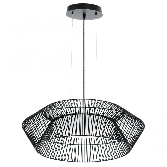 Eglo Piastre 580 Black Cage Pendant with Striped Cable