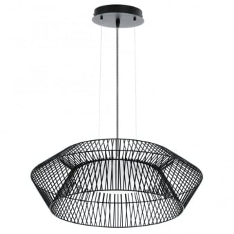Piastre 580 Black Cage Pendant with Striped Cable
