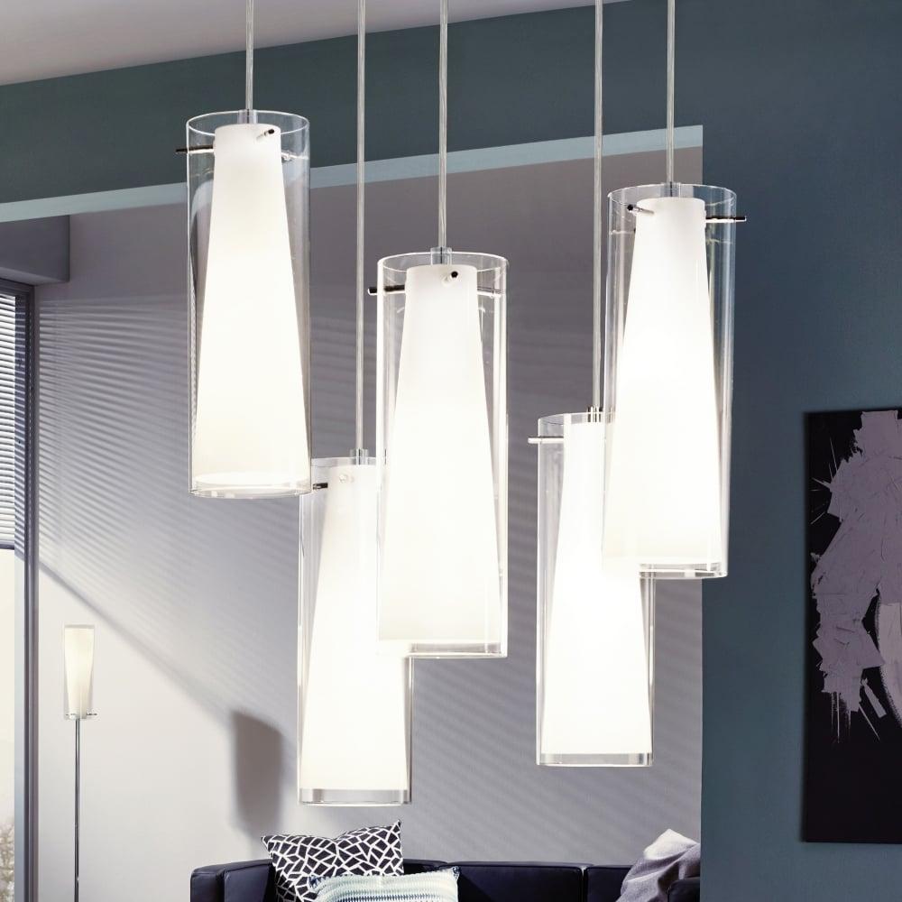 Eglo 93003 Pinto Five Drop Transparent And White Glass Pendant