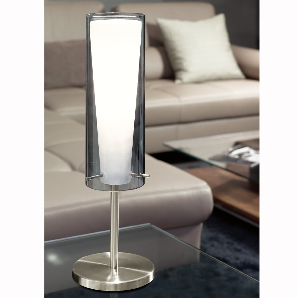 Superbe Pinto Nero Table Lamp With Transparent Black Glass Shade