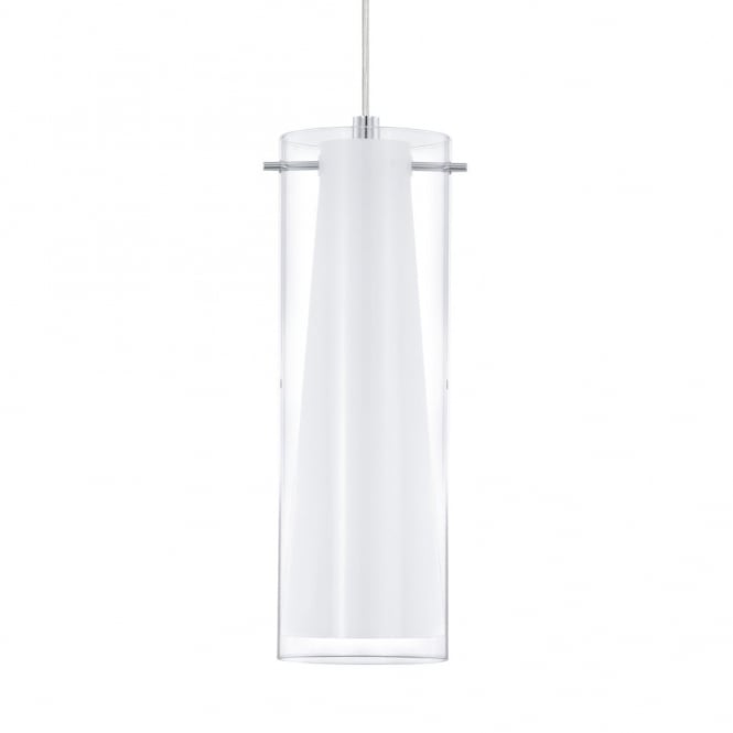 Eglo Pinto Single Drop Transparent and White Glass Pendant