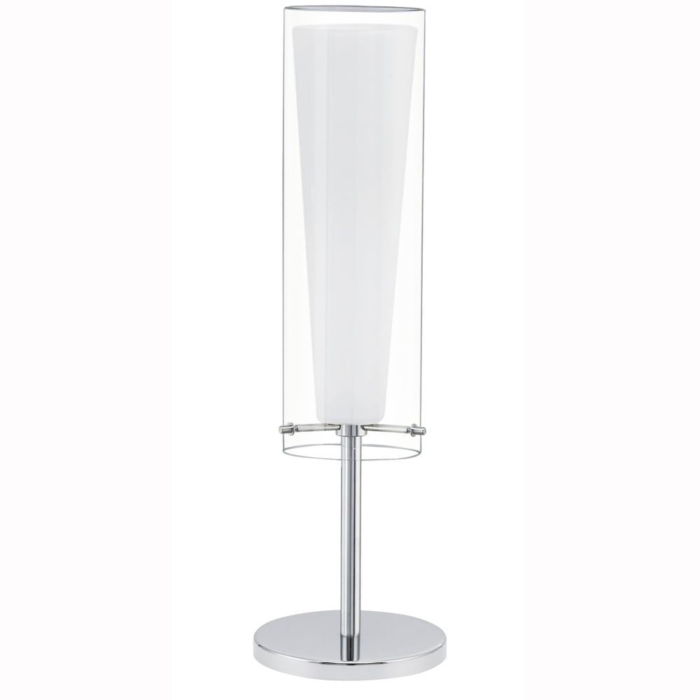 Eglo 92743 rivato white glass and chrome table lamp pinto table lamp with transparent and white glass shade aloadofball Gallery