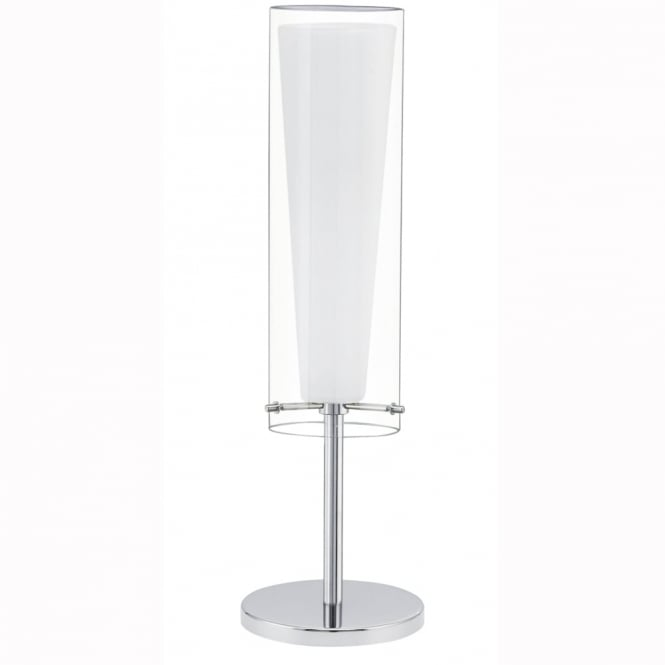 Eglo Pinto Table Lamp with Transparent and White Glass Shade