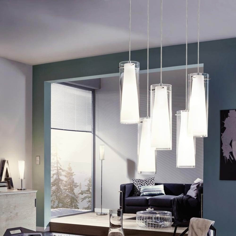 Pinto Table Lamp With Transparent And White Glass Shade