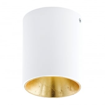 Polasso Round Surface Mount Ceiling Downlight in White and Gold