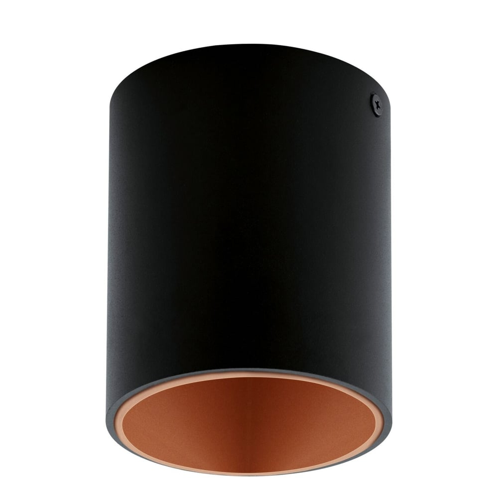 eglo 94501 polasso round ceiling downlight in black and copper. Black Bedroom Furniture Sets. Home Design Ideas