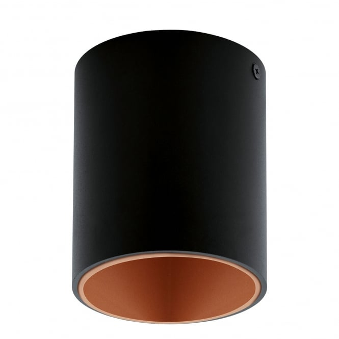 Eglo Polasso Round Surface Mounted Ceiling Downlight in Black and Copper