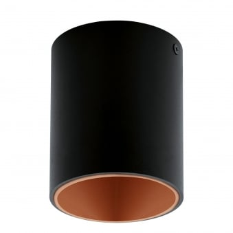 Polasso Round Surface Mounted Ceiling Downlight in Black and Copper