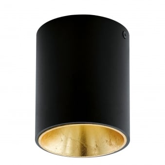 Polasso Round Surface Mounted Ceiling Downlight in Black and Gold