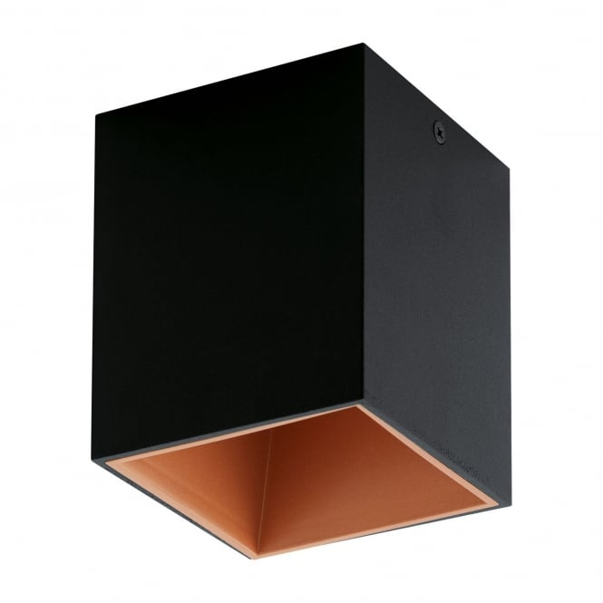 Eglo Polasso Square Surface Mount Ceiling Downlight in Black and Copper