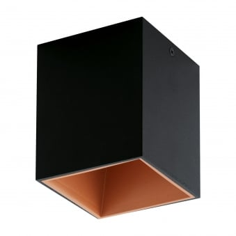 Polasso Square Surface Mount Ceiling Downlight in Black and Copper