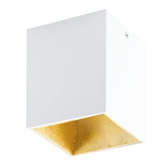 Polasso Square Surface Mount Ceiling Downlight in White and Gold