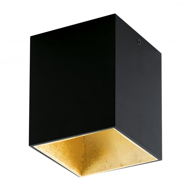 Eglo Polasso Square Surface Mounted Ceiling Downlight in Black and Gold