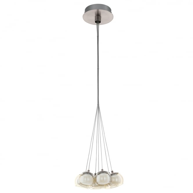 Eglo Poldras Satin Nickel and Glass Seven Drop Pendant Light