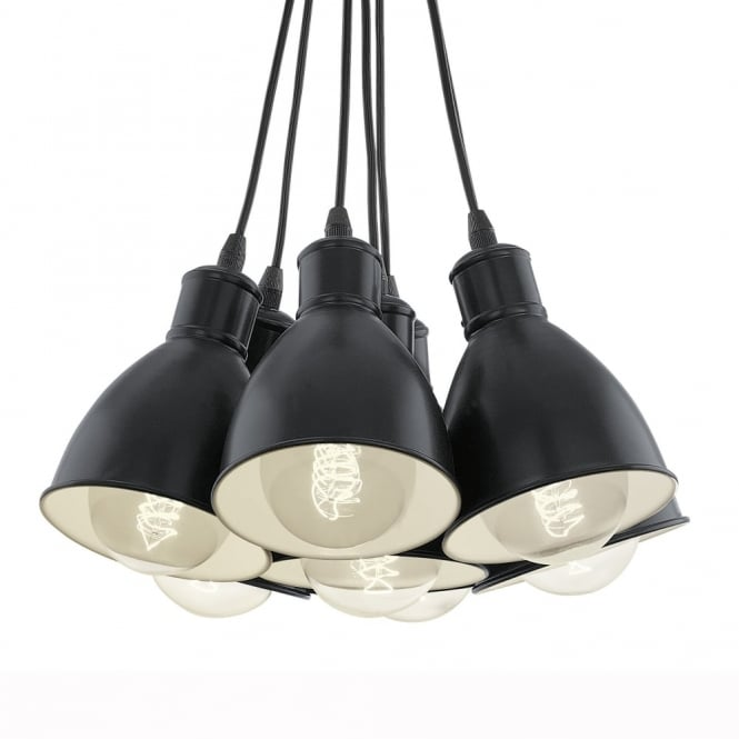 Eglo Priddy 1 Seven Drop Cluster Pendant Light in Black