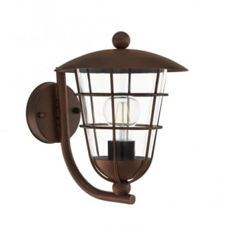 Pulfero Exterior Galvanised Steel IP44 Wall Light in Brown