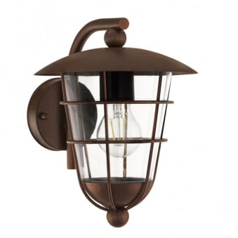 Pulfero Exterior Galvanised Steel Wall Light in Brown