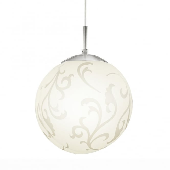 Eglo Rebecca Medium Opal Patterned White Glass Pendant Light