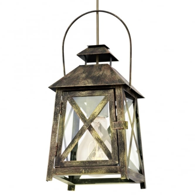 Eglo Redford Gold Red Lantern Style Pendant Light