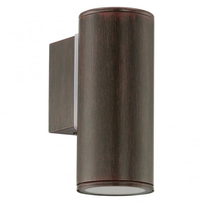 Eglo Riga IP44 Exterior Down Wall Light in Antique Brown