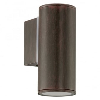 Riga IP44 Exterior Down Wall Light in Antique Brown