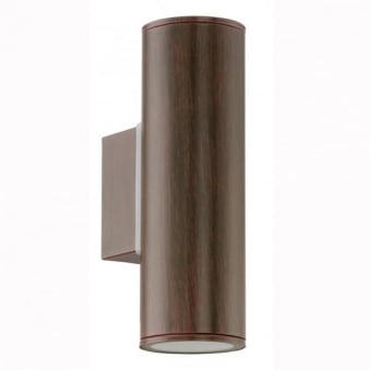 Riga IP44 Exterior Up and Down Wall Light in Antique Brown