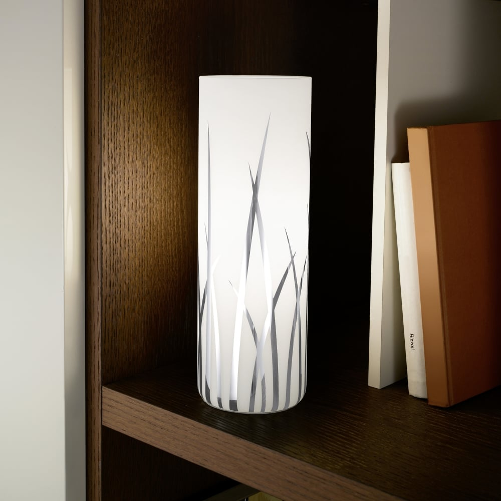 Rivato White Glass And Chrome Table Lamp