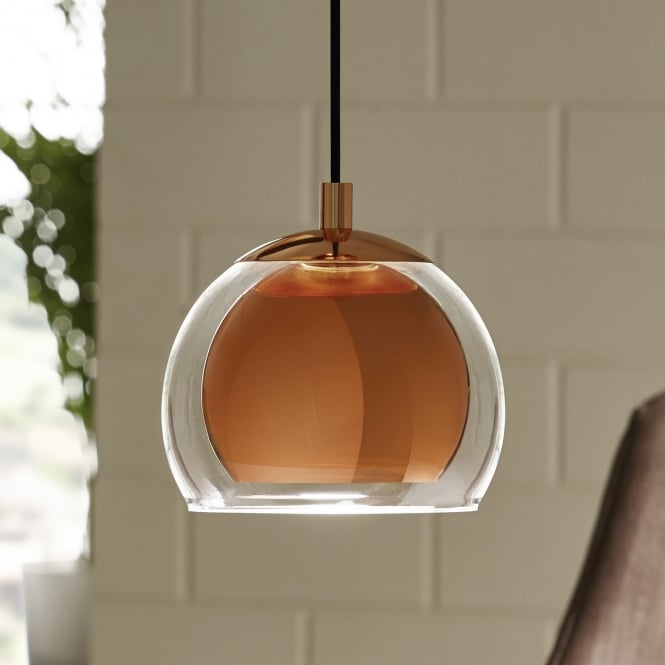 Pendant Lighting Kitchen Bar: Rocamar Copper And Glass Single Pendant