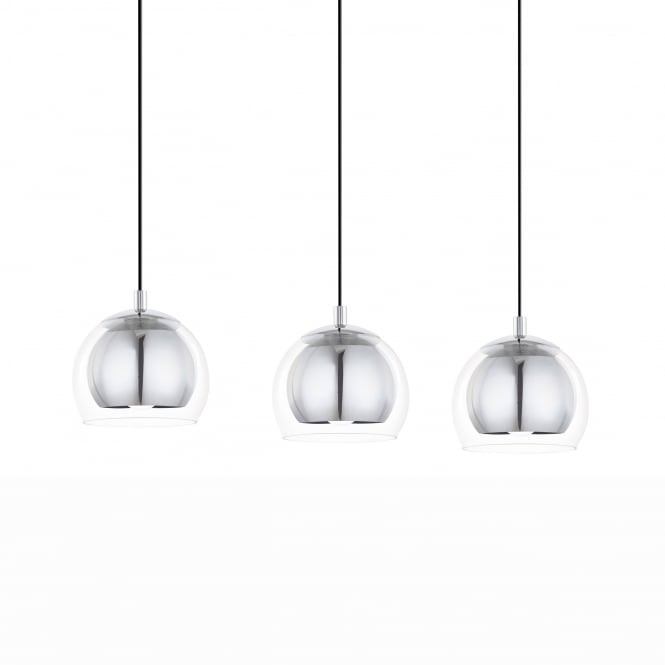 Eglo Rocamar Triple Bar Chrome and Glass Pendant