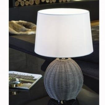 Roia Grey Wicker Table Lamp with Beige Shade