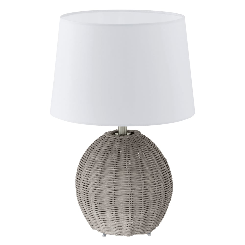 Eglo 91913 roia grey wicker table lamp with beige shade roia grey wicker table lamp with beige shade aloadofball Gallery