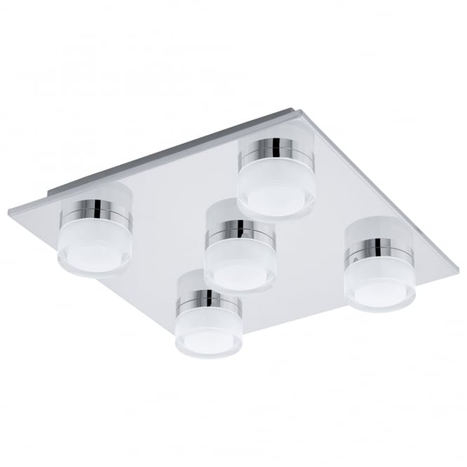 Eglo Romendo Five LED IP44 Bathroom Ceiling Light in Chrome