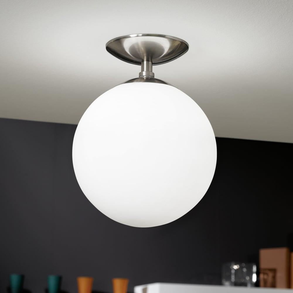 Superieur Rondo Opal White Glass Globe Ceiling Light