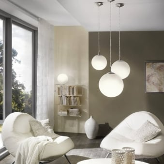 Rondo Small Opal White Glass Globe Pendant Light
