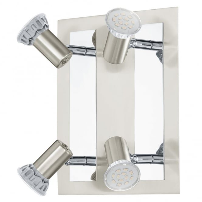 Eglo Rottelo LED Four Square Spotlight in Nickel and Chrome