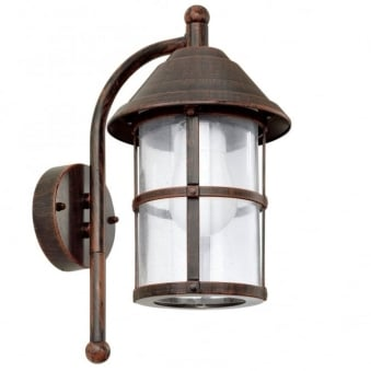 San Telmo Exterior Down Wall Light in Antique Brown