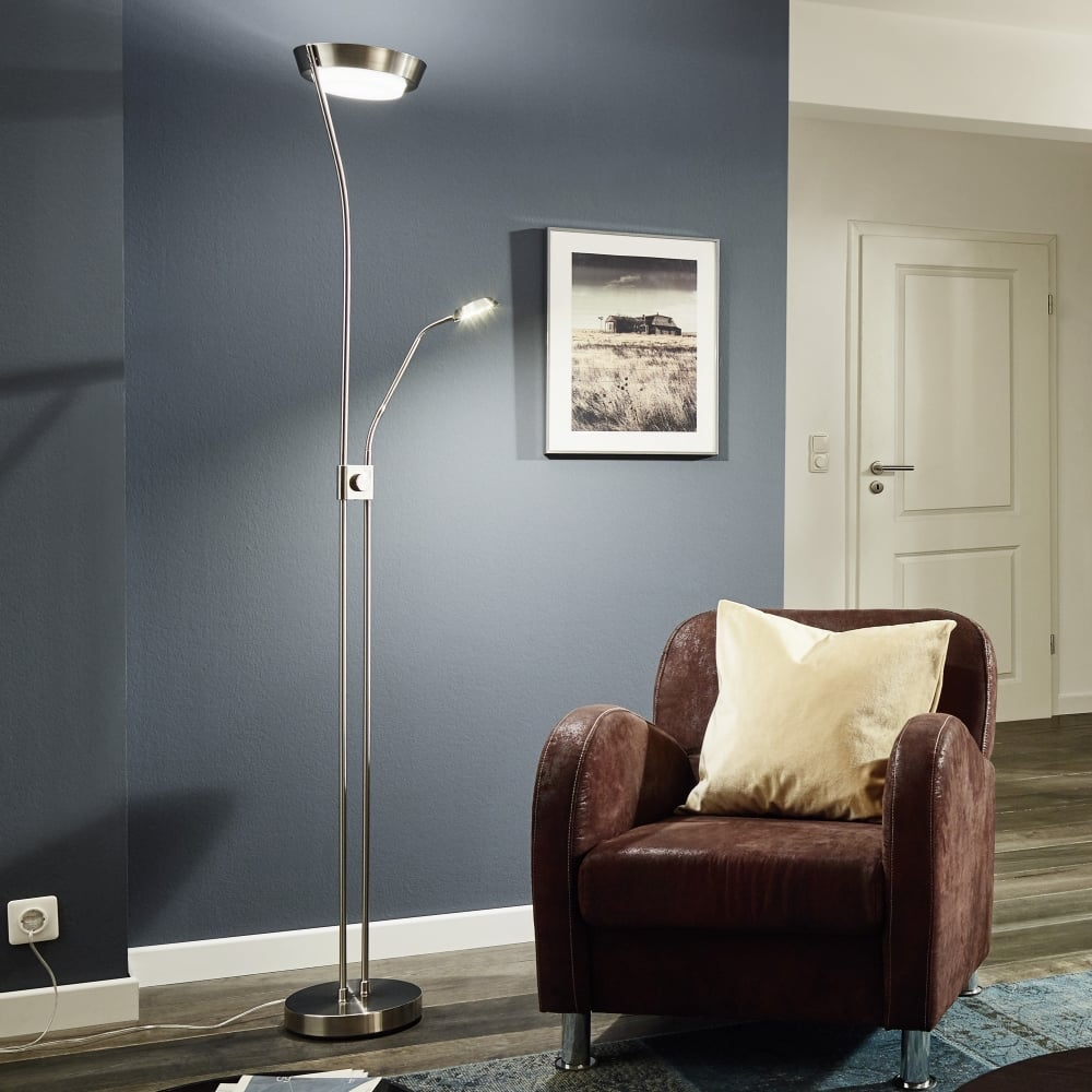 new styles 59bff 4cc2e Sarrione Mother and Child LED Floor Lamp in Satin Nickel