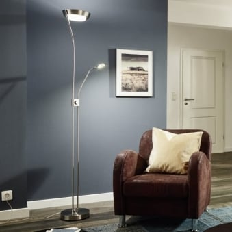 Sarrione Mother and Child LED Floor Lamp in Satin Nickel