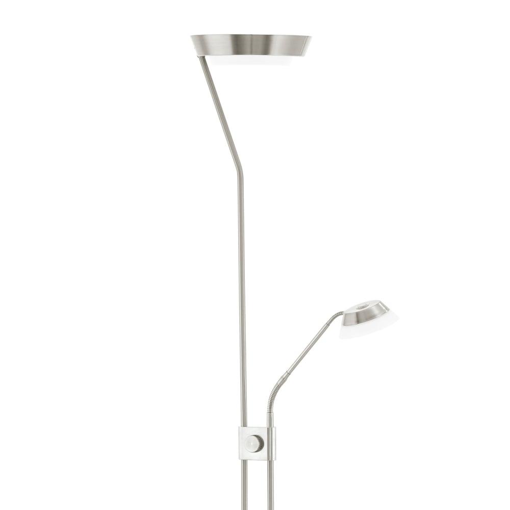 eglo 93713 sarrione mother and child led floor lamp in satin nickel. Black Bedroom Furniture Sets. Home Design Ideas