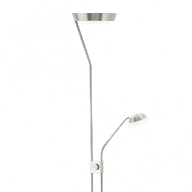 Eglo Sarrione Mother and Child LED Floor Lamp in Satin Nickel