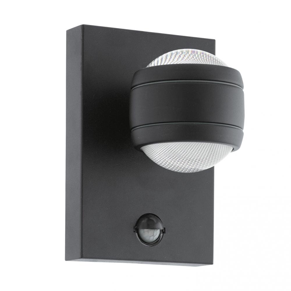 Eglo sesimba 1 led dusk til dawn wall light in black fitting type from dusk lighting uk for Dusk till dawn exterior lighting