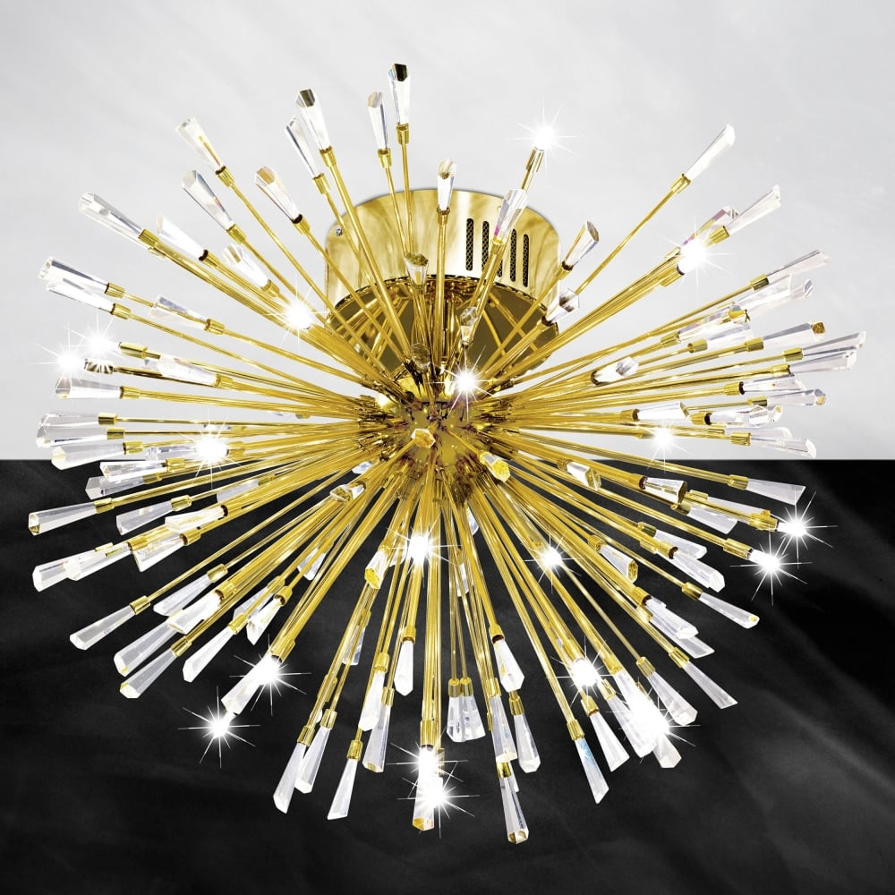 stars of light vivaldo 1 gold and crystal 19 led flush ceiling light