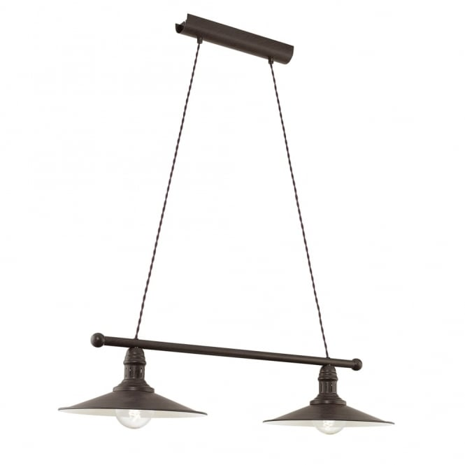 Eglo Stockbury Double Vintage Breakfast Bar Light in Antique Brown