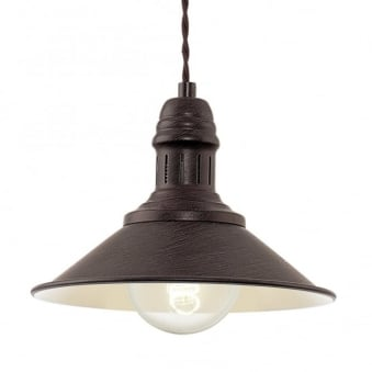Stockbury Small Pendant Light in Antique Brown and Cream