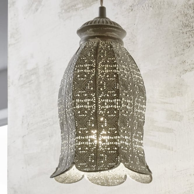 Eglo Talbot 1 Patina Grey Decorative Tulip Pendant Light
