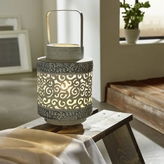 Talbot Grey Lantern Table Lamp